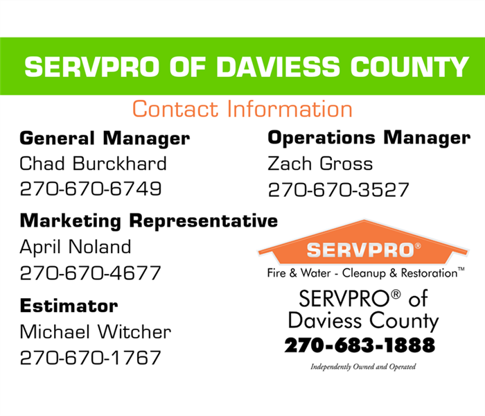 Photo including the SERVPRO of Daviess County Logo along with phone numbers of top management in the company