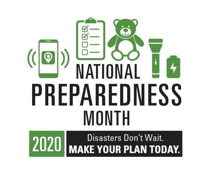 "National Preparedness Month graphic with ""Disastes Don't Wait. Make Your Plan Today."" slogan at bottom of page."