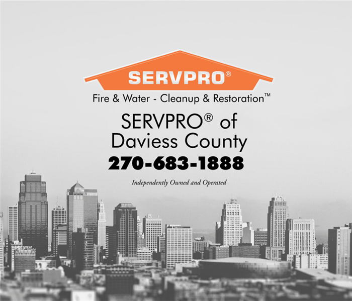 Black & white skyline of a city with SERVPRO logo in the middle
