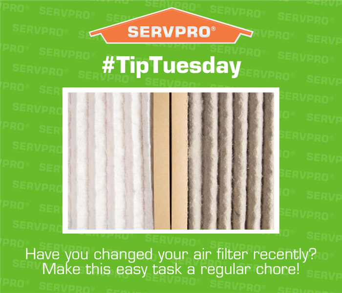 Green graphic photo with an orange SERVPRO logo at the top. with a photo of a clean air filter and dirty filter side by side