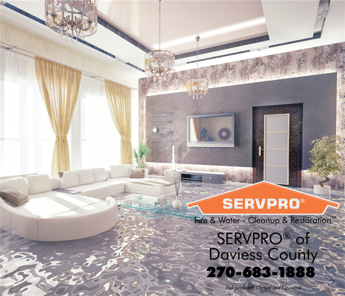 Fancy living room with large windows and a large white couch filled with water. SERVPRO logo in bottom right corner.