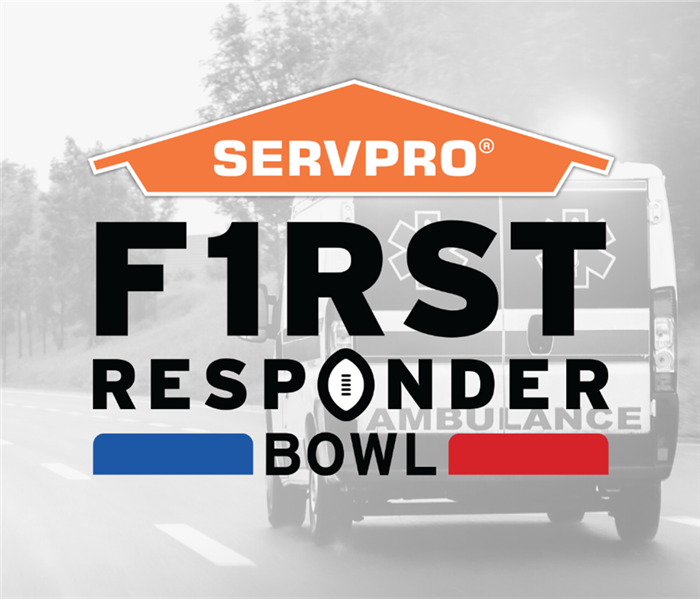 First Responders Bowl logo on top of a B&W photo of an ambulance driving